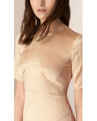 Burberry - Natural Panelled Silk Dress Light Nude - Lyst
