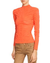 Balmain - Orange Tiger-striped Mock Turtleneck Sweater - Lyst