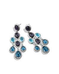 David Yurman - Ultramarine Chandelier Earrings With Blue Topaz And Black Orchid - Lyst