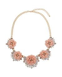 Mikey | Pink Multi Enamel Flower Linked Necklace | Lyst