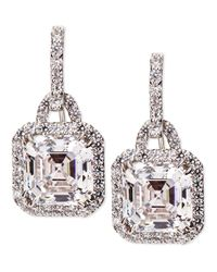 Fantasia by Deserio | White 3.5Ct Asscher Cut Cubic Zirconia Earrings | Lyst