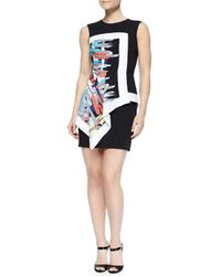BCBGMAXAZRIA - Black Alessandra Printed Layered Fitted Dress - Lyst