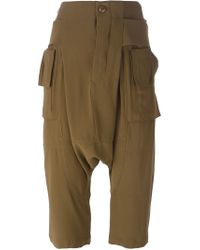 Rick Owens - Green Drop Crotch Cropped Trousers - Lyst