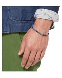 Yuvi   Blue Black Diamond Sterling Silver and Vinyl Bracelet for Men   Lyst