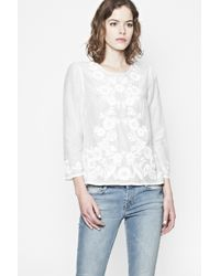 French Connection - White Desert Love Embroidered Top - Lyst