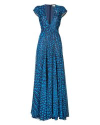 Issa | Blue Printed Silk Gown | Lyst