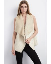 Velvet By Graham & Spencer - Natural Anouk Faux Fur Vest - Lyst