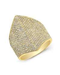Anne Sisteron - 14kt Yellow Gold Diamond Helmet Ring - Lyst