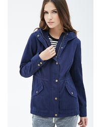 Forever 21 | Blue Hooded Utility Jacket | Lyst