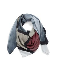 Halogen | Gray Sandwashed Silk Scarf | Lyst