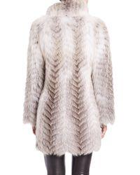 Saks Fifth Avenue - Multicolor Chevron Feathered Fox Fur Jacket - Lyst