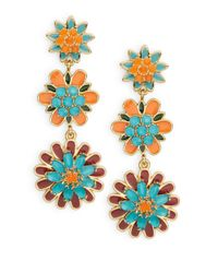 kate spade new york | Multicolor Bold Blooms Chandelier Earrings | Lyst