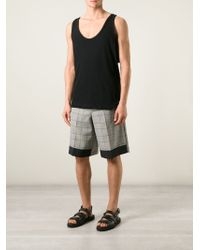 Kris Van Assche - Gray Contrasting Hem Check Shorts for Men - Lyst