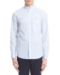 AMI | Blue Trim Fit Mixed Stripe Shirt for Men | Lyst