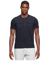 Calvin Klein Jeans | Blue Mixed-media Henley for Men | Lyst