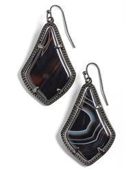 Kendra Scott | Green 'alex' Teardrop Earrings - Gunmetal/ Black Banded Agate | Lyst