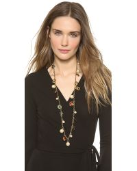Tory Burch | Multicolor Theresa Charm Rosary Necklace Multishiny Brass | Lyst