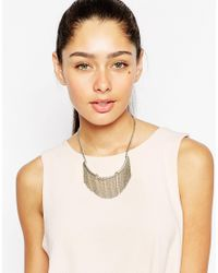 Lipsy | Metallic Frindged Micro Crystal Collar Necklace | Lyst