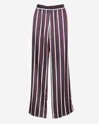 JOSEPH - Blue College Striped Satin Pants - Lyst