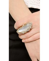 Alexis Bittar - Metallic Two Tone Cocktail Ring with Crystals - Lyst