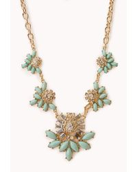Forever 21 - Green Charmed Faux Stone Bib Necklace - Lyst
