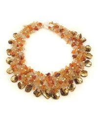 Aeravida | Orange Carnelian And Seashells Cluster Stone Toggle Necklace | Lyst