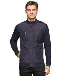 Calvin Klein | Blue Texture Jacquard Mix-media Jacket for Men | Lyst