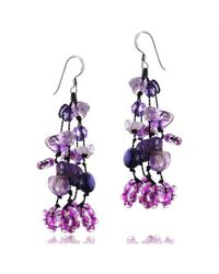 Aeravida | Midnight Purple Serenade Pearl Seeds Bead Silver Earrings | Lyst