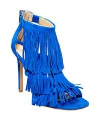Steve Madden | Blue Fringly Suede Stiletto Heel Sandals | Lyst