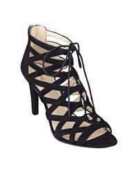 Nine West - Black Authority Peep Toe Booties - Lyst