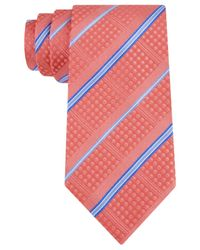 Sean John | Pink Dotty Textured Stripe Tie for Men | Lyst