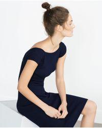Zara | Blue Dress With V-neck Back | Lyst