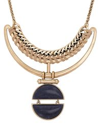 Lucky Brand | Metallic Lapis Statement Necklace | Lyst