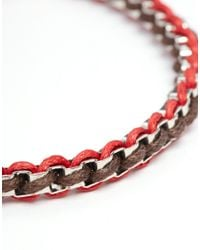 ASOS - Red Metal And Woven Bracelet for Men - Lyst