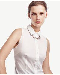 Ann Taylor - Metallic Oversize Crystal Necklace - Lyst