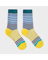 Paul Smith | Blue Women's Navy And Yellow 'mainline Stripe' Socks | Lyst