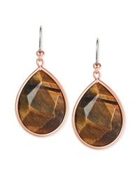 Fossil | Metallic Rose Goldtone Semiprecious Tigers Eye Drop Earrings | Lyst