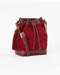 Ann Taylor | Red Mini Suede Bucket Bag | Lyst