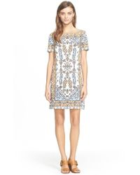 Tory Burch | Natural Print Short Sleeve Dress | Lyst