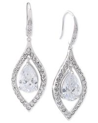 Carolee | Metallic Silver-tone Crystal Teardrop Earrings | Lyst