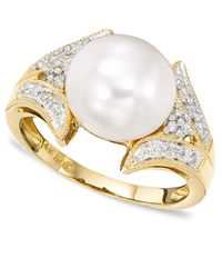Macy's | Metallic 14k Gold Cultured Freshwater Pearl & Diamond (1/16 Ct. T.w.) Ring | Lyst