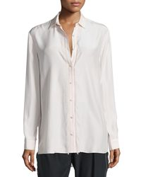 ATM - White Silk Fringe-trim Button-front Shirt - Lyst