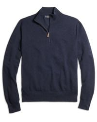 Brooks Brothers | Blue Cotton Cashmere Half-zip Sweater for Men | Lyst