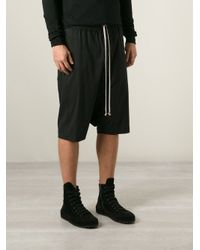 Rick Owens - Black Drop Crotch Shorts for Men - Lyst
