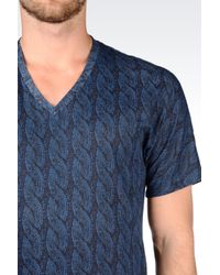 Emporio Armani   Blue T-shirt In Cotton Jersey for Men   Lyst
