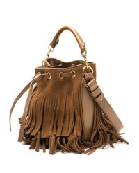 Saint Laurent | Brown Emmanuelle Small Fringed Suede Bucket Bag | Lyst