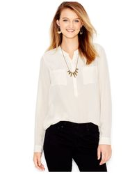 Lucky Brand | White Lucky Brand Long-sleeve Silk Blouse | Lyst