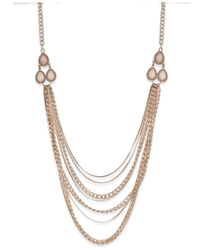 INC International Concepts | Metallic Rose Gold-tone Multirow Frontal Necklace | Lyst