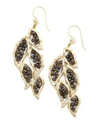 Panacea | Metallic 'leaf' Drop Earrings - Dark Hematite | Lyst