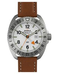 Shinola | White 'rambler' Dual Time Leather Strap Watch for Men | Lyst